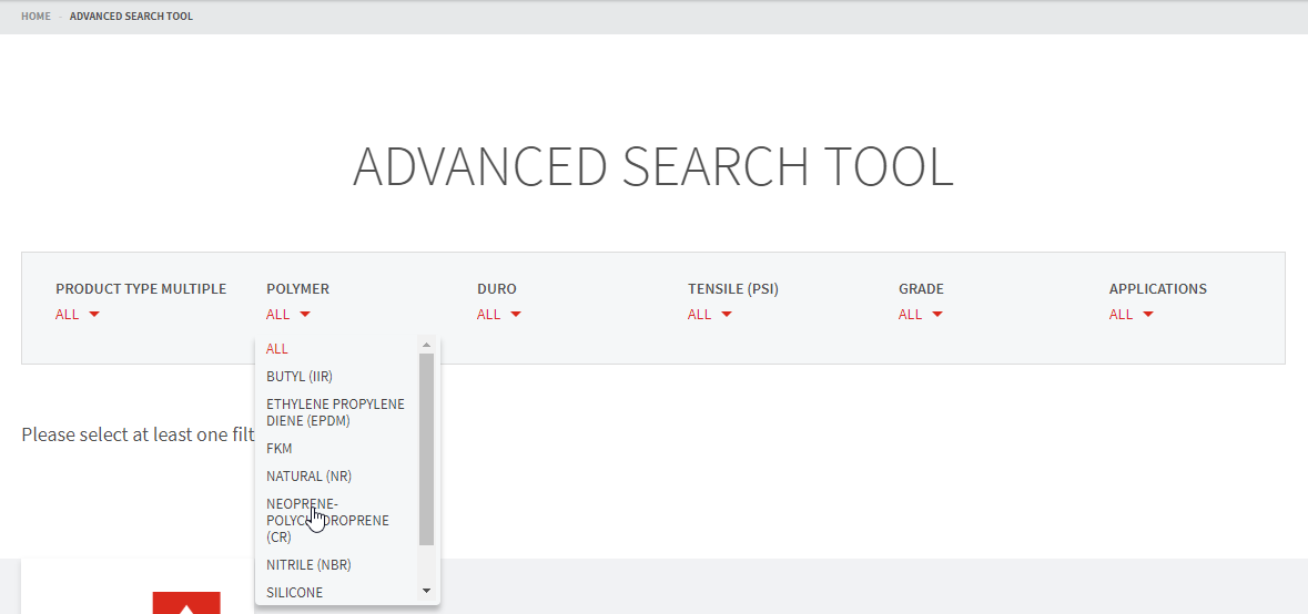 advanced search polymer selection
